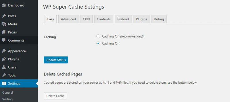 Xoa-cache-plugin-wp-super-cache