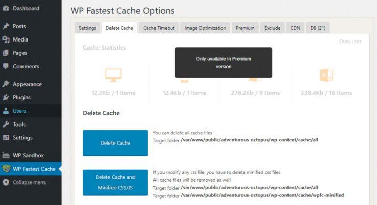 Xoa-cache-wp-fastest-cache